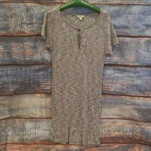 Lucky Brand Striped Gray/White Keyhole Midi Dress!